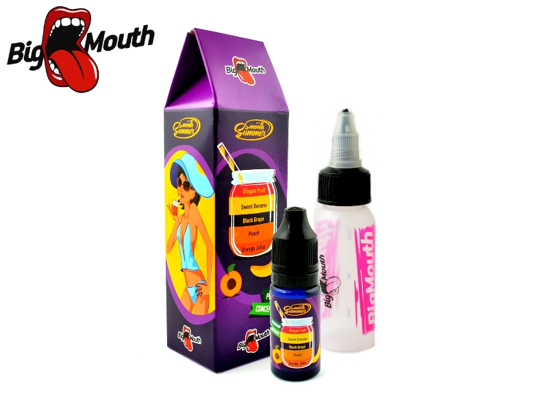 Big Mouth Smooth Summer - Hroznové víno a banán (Orange Juice, Peach, Black Grape, Sweet Banana, Dragon Fruit) - 10ml