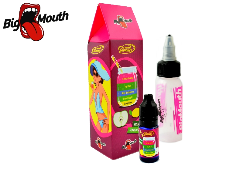 Big Mouth Smooth Summer - Cukrová vata a ledová hruška (Juicy Lime, Green Apple, Blue Raspberry, Icy Pear, Cotton Candy) 10ml